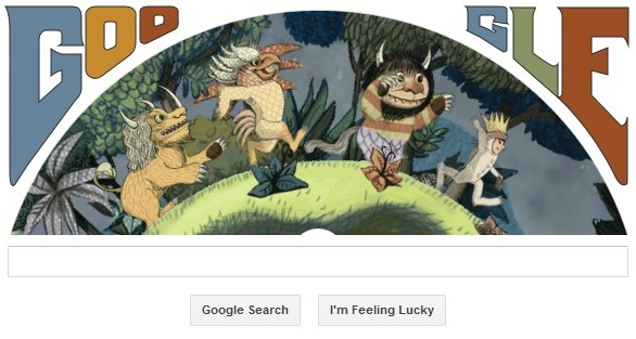 Maurice Sendak birthday doodle on Google - Where the Wild Things Are